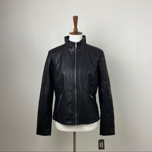 NWT GUESS Large Faux Vegan Leather Black Jacket